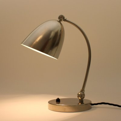 Nickel plated desk lamp made by LePhare, Switzerland 1940s