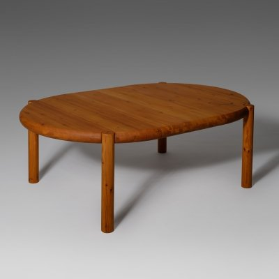 Large extendable dining table in solid pine by Rainer Daumiller