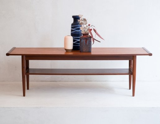 Afromosia teak long john coffee table by Myer, 1970s