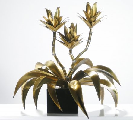 Rare iconic Maison Jansen brass flower lamp, 1970s