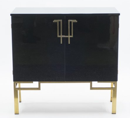 Rare brass & lacquered cabinet bar by Guy Lefevre for Maison Jansen, 1970s