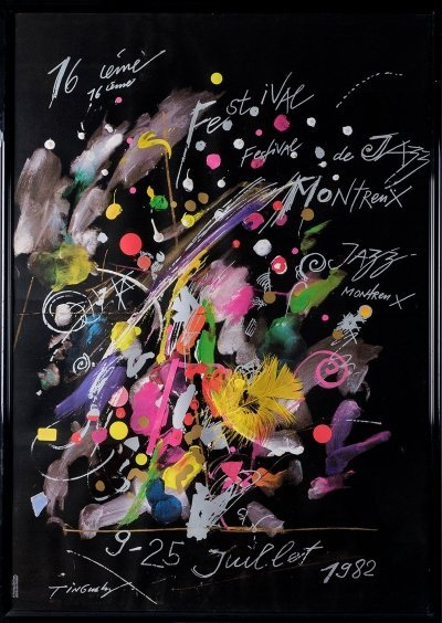 Original first edition poster for the Montreux Jazz Festival 1982 by Jean Tinguely