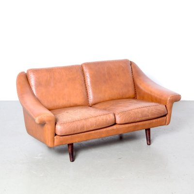 Brown leather two seater sofa, Denmark 1950s
