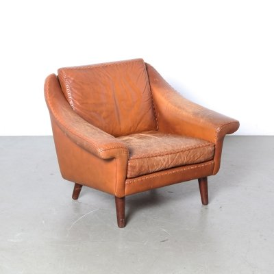 Brown leather Armchair, Denmark 1950s