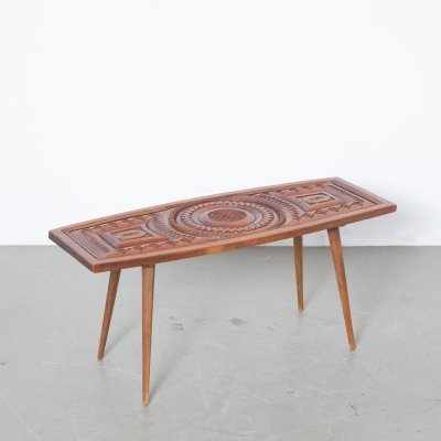 Hand carved teak side table
