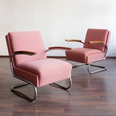 Pair of S411 arm chairs by W. Gispen for Mücke Melder, 1930s