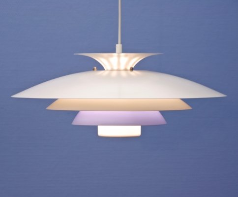 XL Danish hanging lamp in white with purple / blue accent by Form Light, 1970s