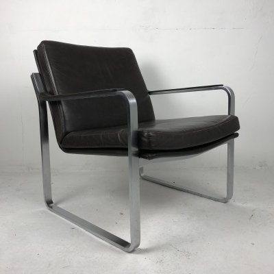 Modernist Brown Leather Executive Lounge Chair, 1970s