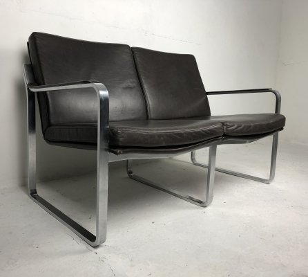Modernist Brown Leather Executive 2-seater Sofa, 1970s