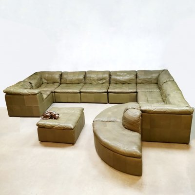 Midcentury design modular Green Patchwork leather sofa by Laauser, 1960s