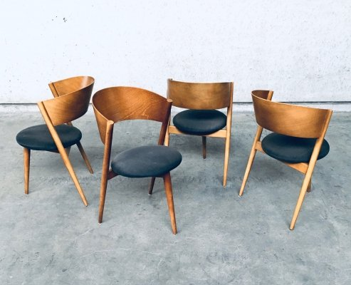 Midcentury Modern Design Tripod Dining Chair set by MI, Spain 1960's