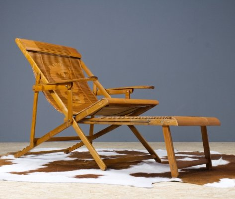 Vintage Bamboo Japanese Lounger or Deck Chair with Armrests & Hocker, 1940s