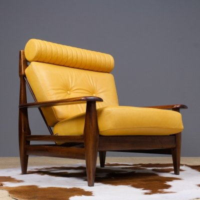 Vintage lounge chair in rosewood & leather, Brazil 1960s
