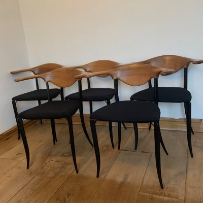Set of 5 Italian Dining Chairs by Fasem, 1980s