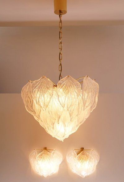 Murano Glass Chandelier & two Sconces from Novaresi