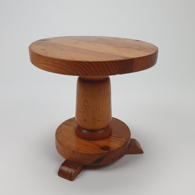 Mid Century French Pine Modernist Stool, 1960s