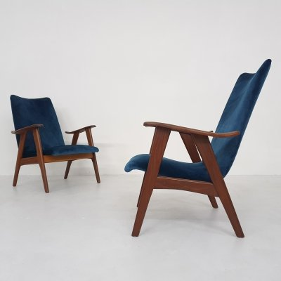Set of 2 Louis van Teeffelen for Webe lounge chairs in velvet, The Netherlands