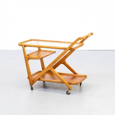 50s Cesare Lacca ceder wood tea trolley for Cassina