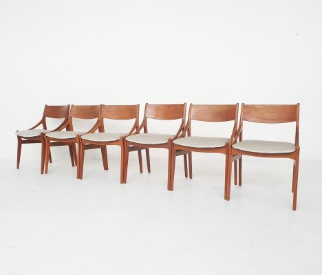 Set of 6 H. Vestervig Eriksen for BRDR Tromborg dining chairs, Denmark 1955