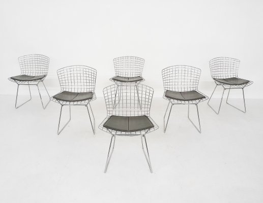 Set of 6 Original Vintage Harry Bertoia for Knoll Wire Dining Chairs, 1952