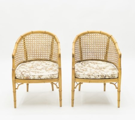Pair of Mid-Century Modern French Riviera Cane Bamboo Armchairs, 1960s