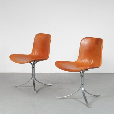 Pair of Poul Kjaerholm PK9 Chairs for Kold Christensen, Denmark 1970s
