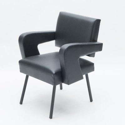 Jacques Adnet 'President' leatherette armchair, 1959