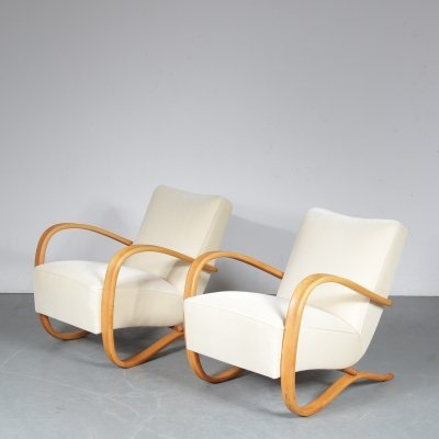 Pair of lounge chairs by Jindřich Halabala for UP Závody, 1930s