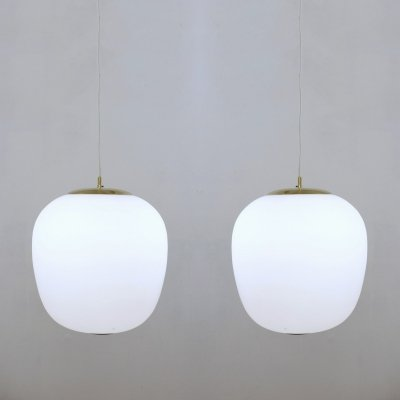 Pair of Opaline Glass And Brass Pendant Lights by Stilnovo, Italy 1950s