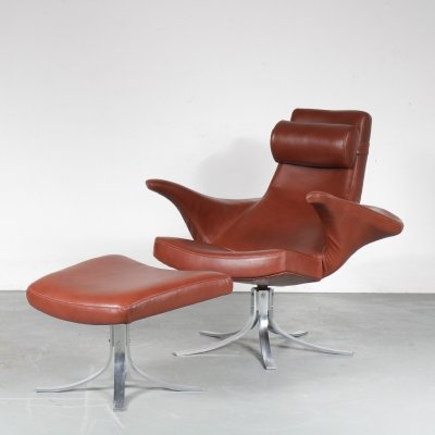 'Seagull' Chair + Foot Stool by Gosta & Eriksson for Fritz Hansen, Denmark 1960