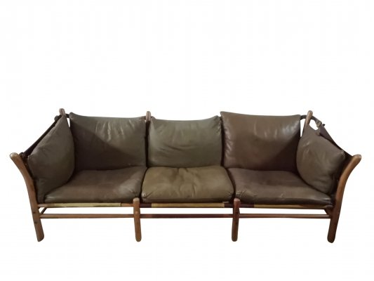 Midcentury Sofa in Patinated Leather 'Ilona' by Arne Norell, Sweden 1960s