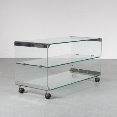 1970s Glass trolley by Gallotti & Radice, Italy