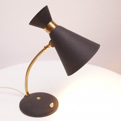 Mid-Century Modern Table Lamp with Black Shade