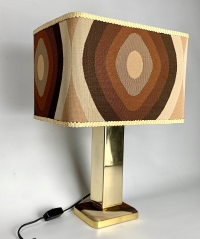 Table lamp with Gold plated base with its original fabric shade & matching fabric in base, 1970s