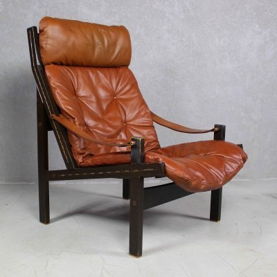 Brown Leather 'Hunter' Lounge Chair by Torbjørn Afdal for Bruksbo, 1960s