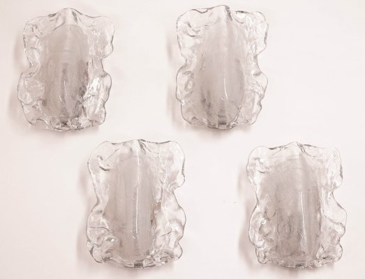 Set of 4 Ice Glass Wall Sconces from Kalmar
