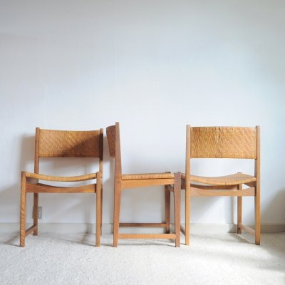 Oak & Cane Dining Chairs by Peter Hvidt & Orla Mølgaard-Nielsen