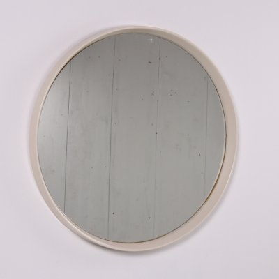 Vintage mega large round mirror with white edge, 1960s