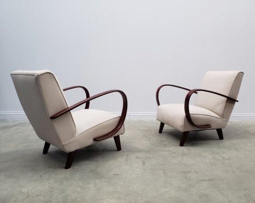 1930 Jindrich Halabala Bentwood Armchairs in Neutral