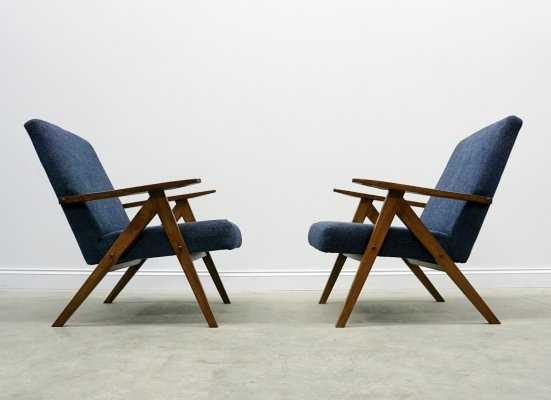 Mid Century Easy Chairs Model B - 310 Var in Navy Blue