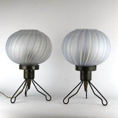 Pair of Italian brass & blown murano glass table lamps, 1950s