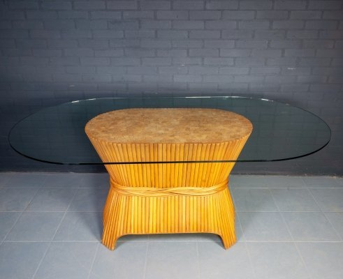 McGuire Sheaf of Wheat Bamboo Dining Table, 1980s