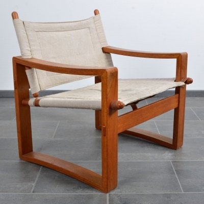 Børge Jensen safari chair in teak, leather & cotton, 1960s