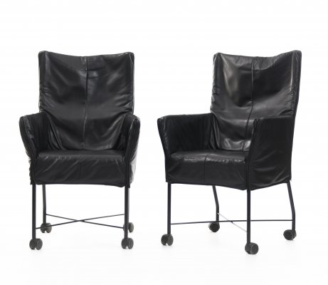 Chaplin black leather chairs by Gerard Van Den Berg for Montis, 1980s
