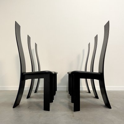 Set of 6 High back Dining chairs by Bob & Dries Van Den Berghe for Tranekaer, 1970s