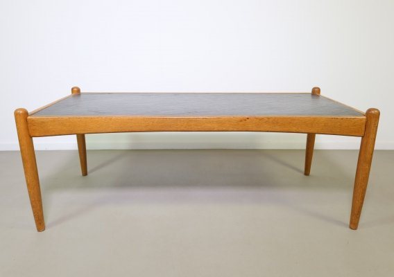 Oak coffee table with black slate top, Denmark 1960s