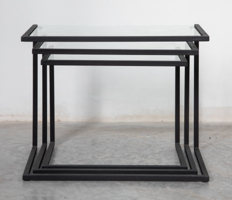 Bauhaus style modernist nesting tables with clear glass top, 1970s