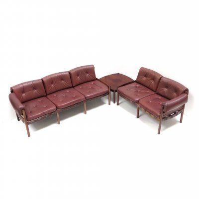 Leather corner sofa with coffee table from Sven Ellekaer for Coja, 1960s