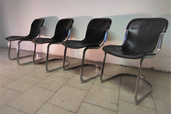 Set of 4 Willy Rizzo chairs for Cidue, 1970s