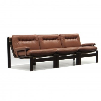 Vintage brown leather element sofa in high-quality leather from Carl Straub
